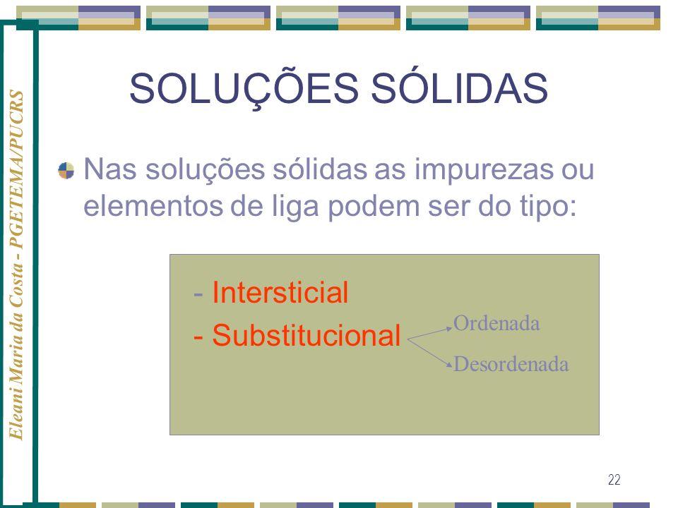SOLUÇÕES SÓLIDASNas soluções sólidas as impurezas ou elementos de liga podem ser do tipo: - Intersticial.