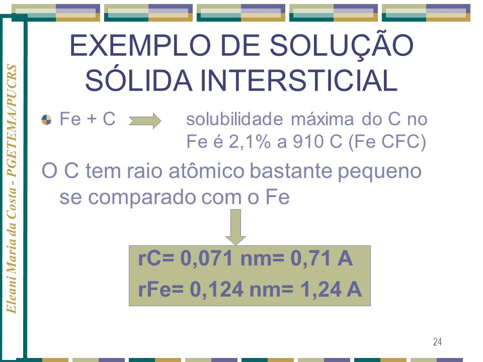 EXEMPLO DE SOLUÇÃO SÓLIDA INTERSTICIAL