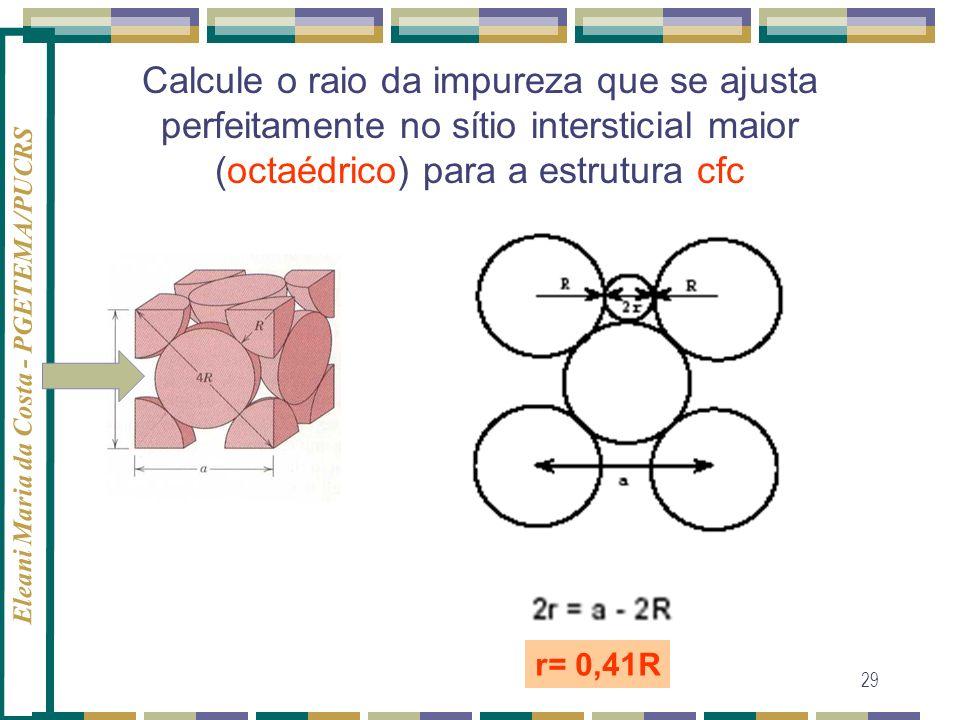 Calcule o raio da impureza que se ajusta perfeitamente no sítio intersticial maior (octaédrico) para a estrutura cfc