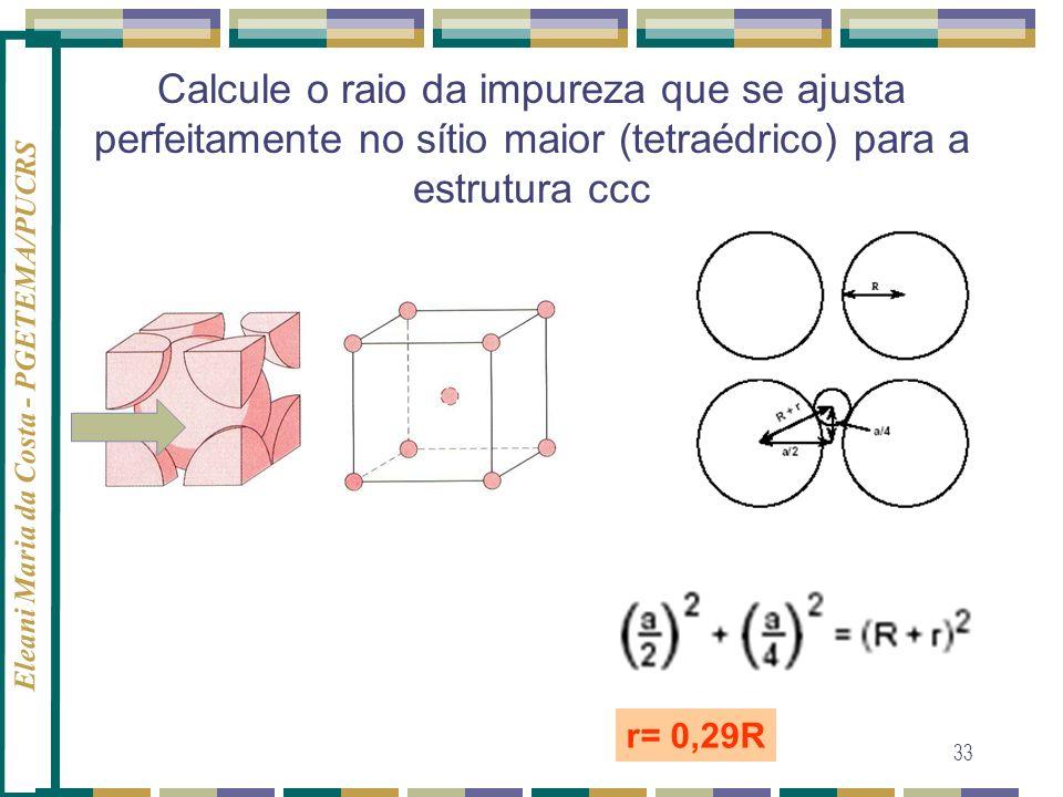 Calcule o raio da impureza que se ajusta perfeitamente no sítio maior (tetraédrico) para a estrutura ccc