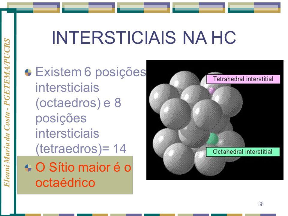 INTERSTICIAIS NA HCExistem 6 posições intersticiais (octaedros) e 8 posições intersticiais (tetraedros)= 14.