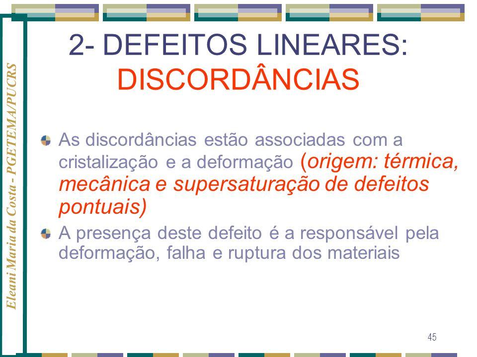 2- DEFEITOS LINEARES: DISCORDÂNCIAS
