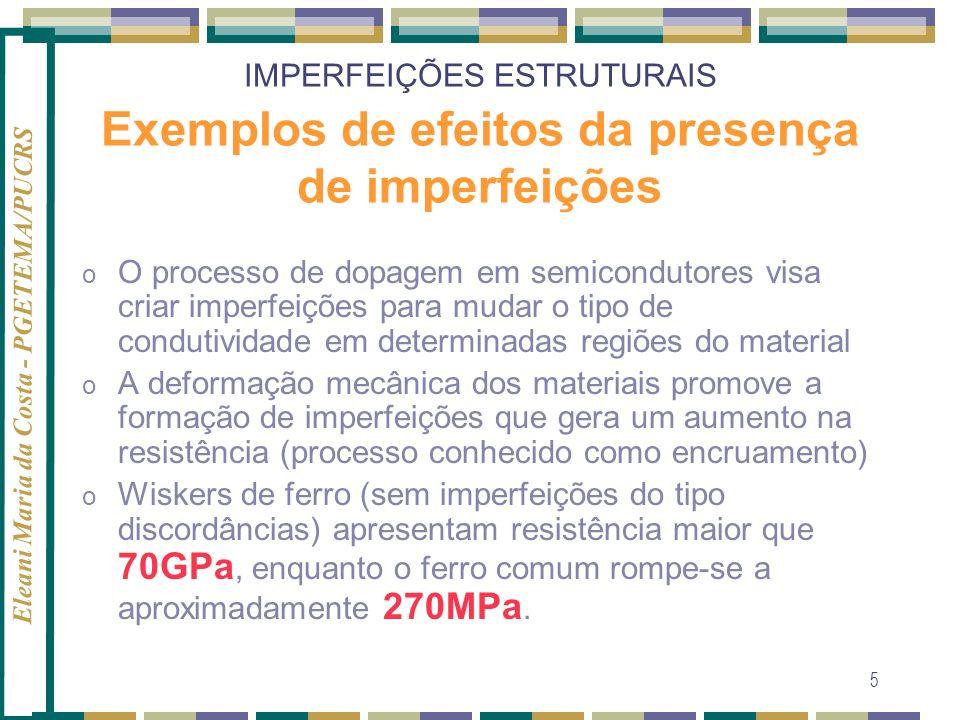 IMPERFEIÇÕES ESTRUTURAIS Exemplos de efeitos da presença de imperfeições