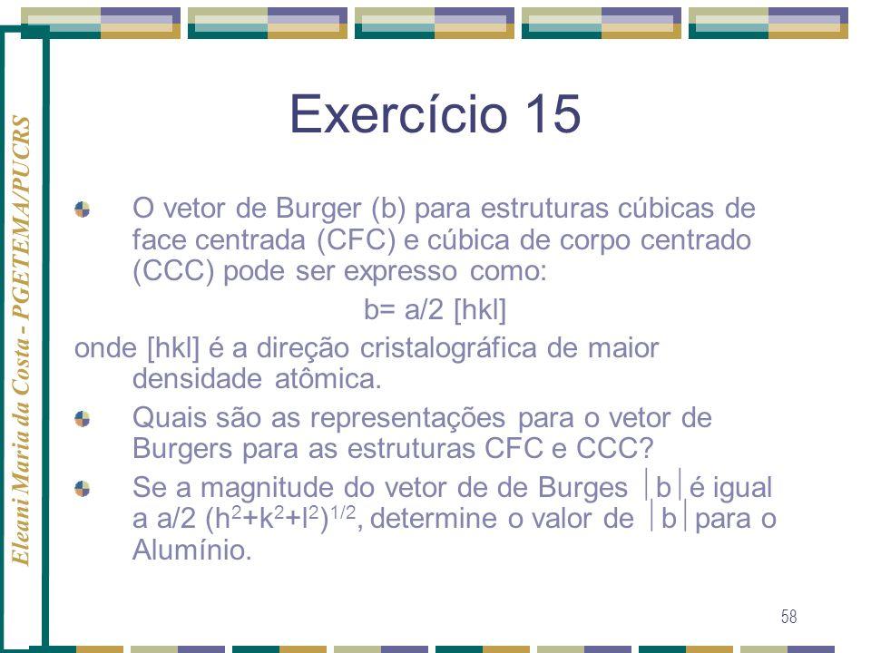 Exercício 15O vetor de Burger (b) para estruturas cúbicas de face centrada (CFC) e cúbica de corpo centrado (CCC) pode ser expresso como: