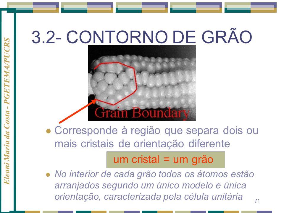 3.2- CONTORNO DE GRÃO Corresponde à região que separa dois ou mais cristais de orientação diferente.