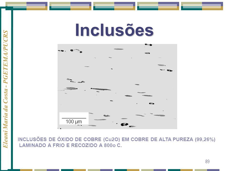 Inclusões INCLUSÕES DE ÓXIDO DE COBRE (Cu2O) EM COBRE DE ALTA PUREZA (99,26%) LAMINADO A FRIO E RECOZIDO A 800o C.