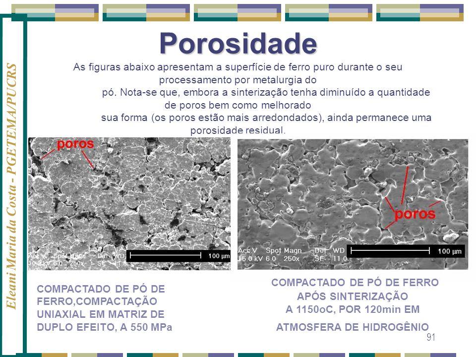Porosidade As figuras abaixo apresentam a superfície de ferro puro durante o seu processamento por metalurgia do pó. Nota-se que, embora a sinterização tenha diminuído a quantidade de poros bem como melhorado sua forma (os poros estão mais arredondados), ainda permanece uma porosidade residual.