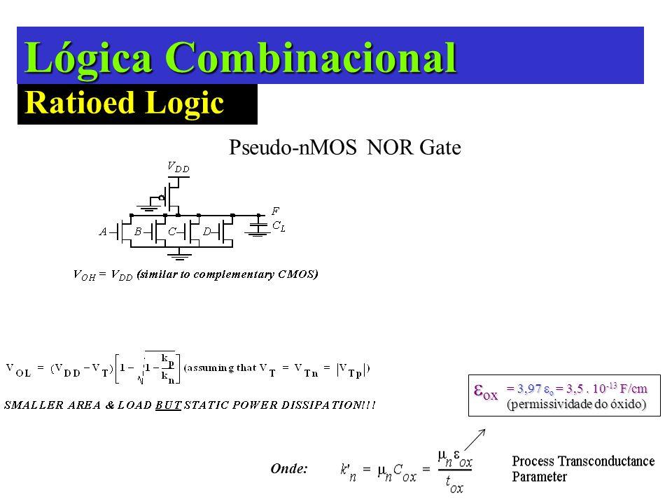 Lógica Combinacional Ratioed Logic Pseudo-NMOS Pseudo-nMOS NOR Gate