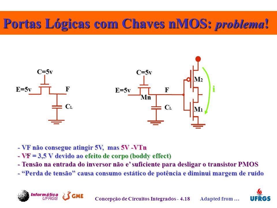 Portas Lógicas com Chaves nMOS: problema!
