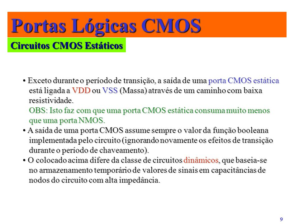 Portas Lógicas CMOS Circuitos CMOS Estáticos