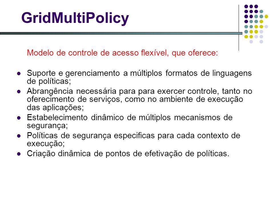GridMultiPolicy Modelo de controle de acesso flexível, que oferece: Suporte e gerenciamento a múltiplos formatos de linguagens de políticas;