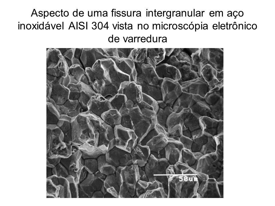 Aspecto de uma fissura intergranular em aço inoxidável AISI 304 vista no microscópia eletrônico de varredura