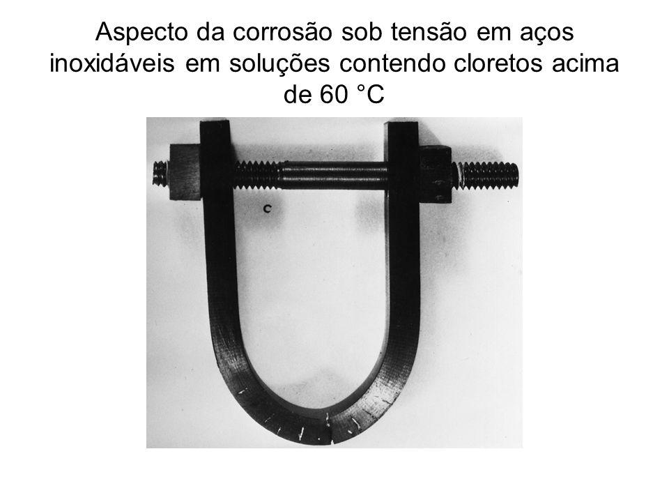 Aspecto da corrosão sob tensão em aços inoxidáveis em soluções contendo cloretos acima de 60 °C