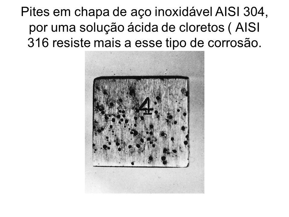 Pites em chapa de aço inoxidável AISI 304, por uma solução ácida de cloretos ( AISI 316 resiste mais a esse tipo de corrosão.