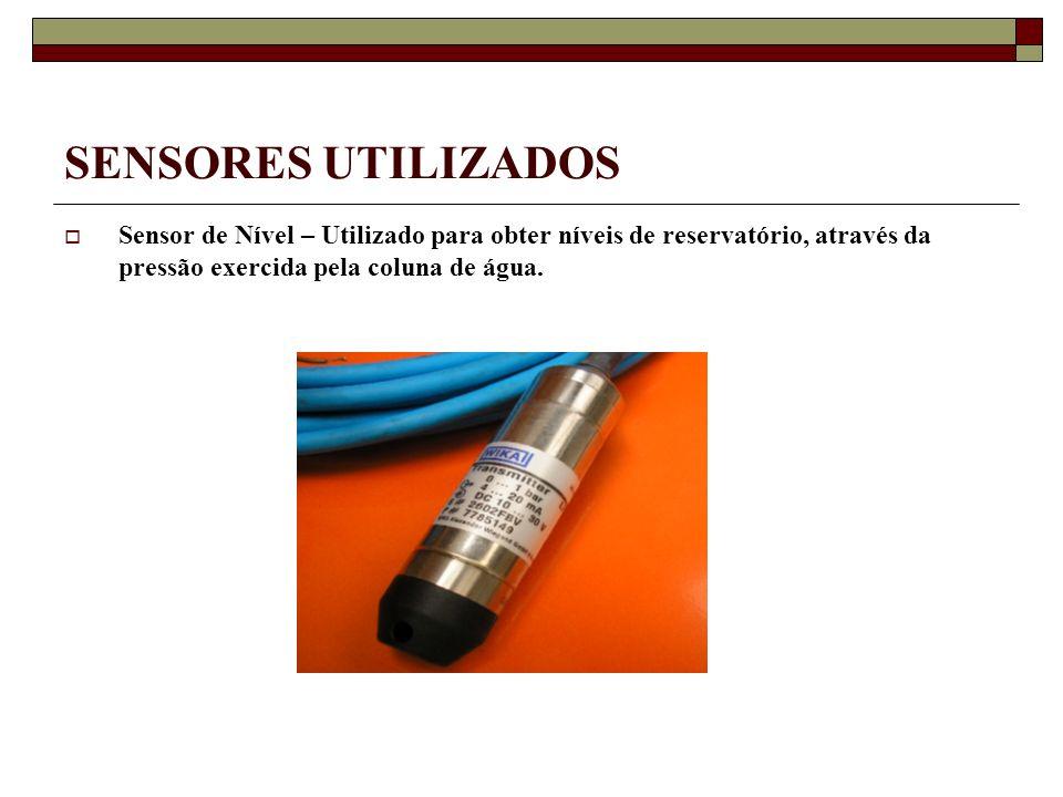 SENSORES UTILIZADOS Sensor de Nível – Utilizado para obter níveis de reservatório, através da pressão exercida pela coluna de água.