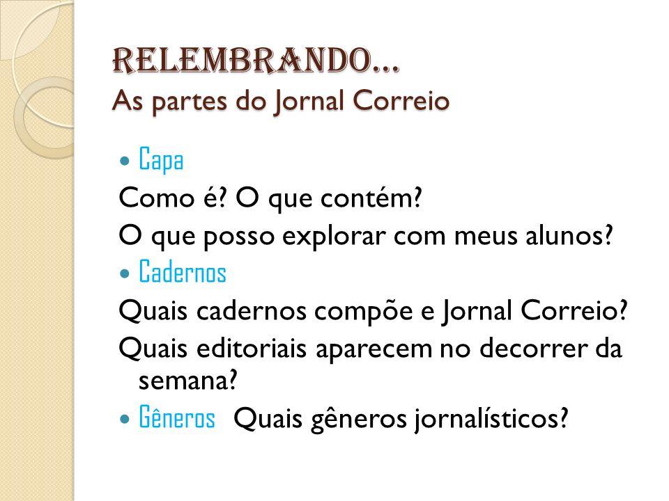 Relembrando... As partes do Jornal Correio