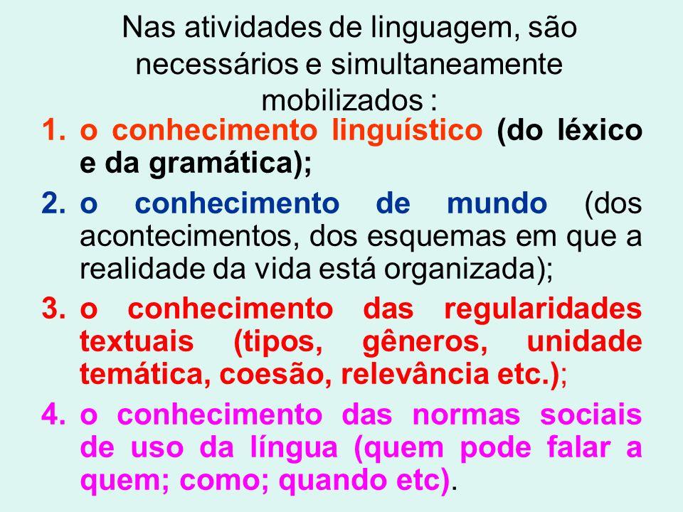 Nas atividades de linguagem, são necessários e simultaneamente mobilizados :