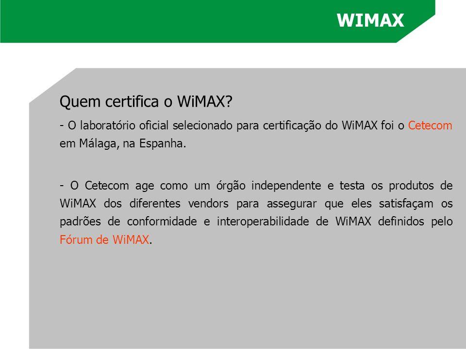 WIMAX Quem certifica o WiMAX