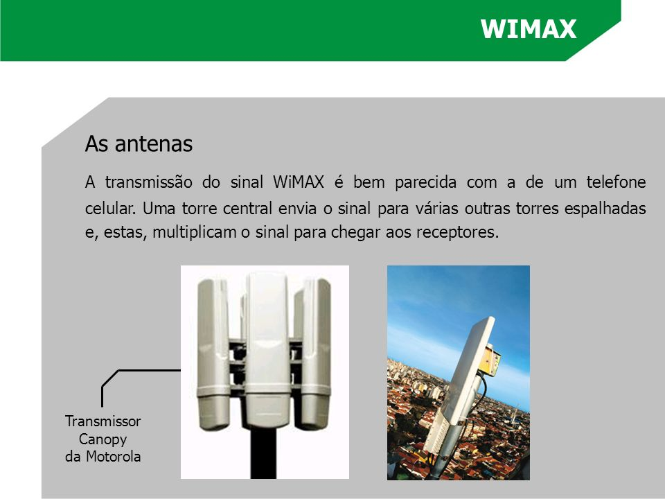 WIMAX As antenas.