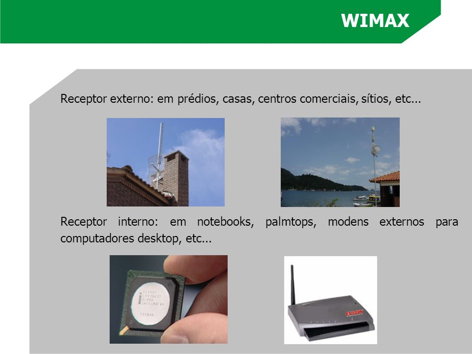 WIMAXReceptor externo: em prédios, casas, centros comerciais, sítios, etc...