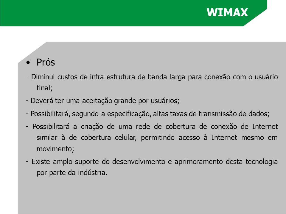 WIMAX Prós. - Diminui custos de infra-estrutura de banda larga para conexão com o usuário final; - Deverá ter uma aceitação grande por usuários;