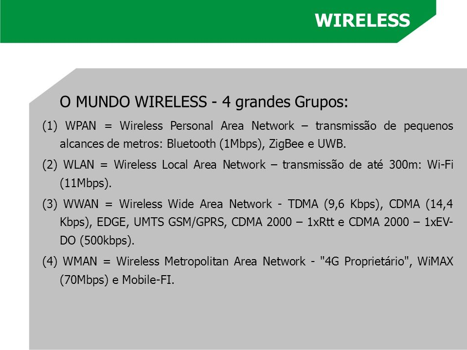 WIRELESS O MUNDO WIRELESS - 4 grandes Grupos: