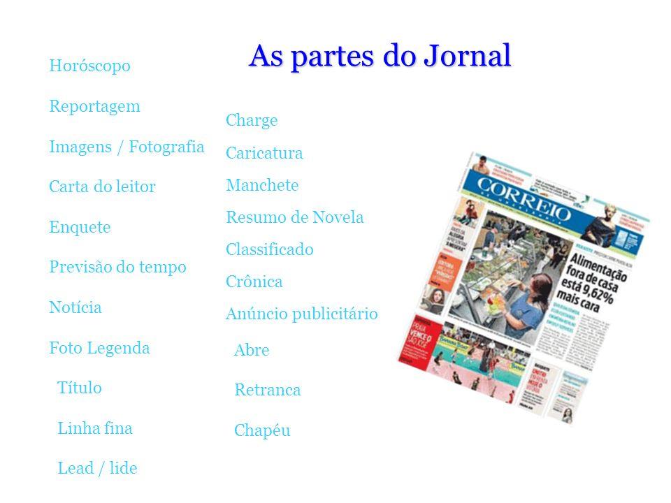 As partes do Jornal Horóscopo Reportagem Imagens / Fotografia Charge