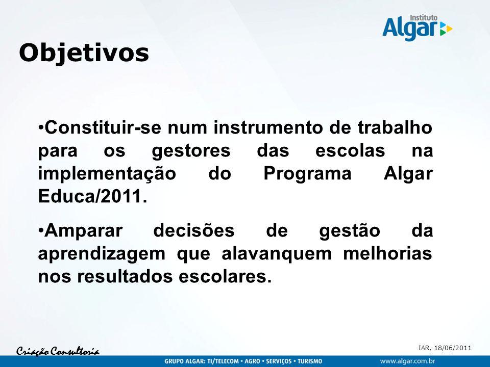 Objetivos Constituir-se num instrumento de trabalho para os gestores das escolas na implementação do Programa Algar Educa/2011.