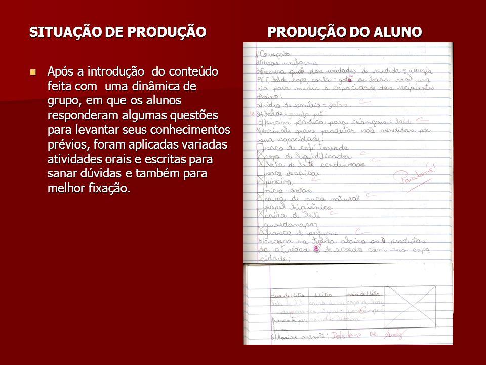 SITUAÇÃO DE PRODUÇÃO PRODUÇÃO DO ALUNO