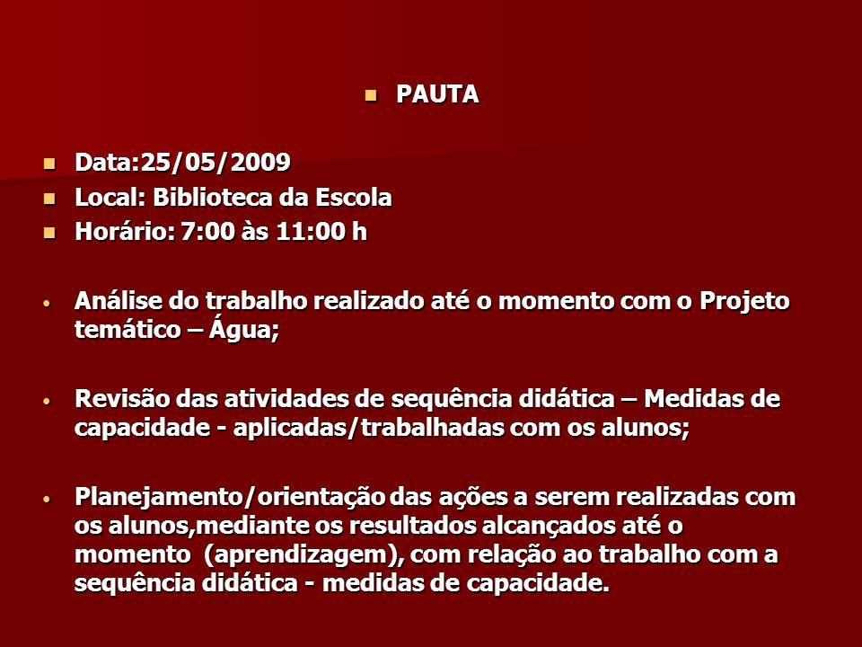 PAUTA Data:25/05/2009. Local: Biblioteca da Escola. Horário: 7:00 às 11:00 h.