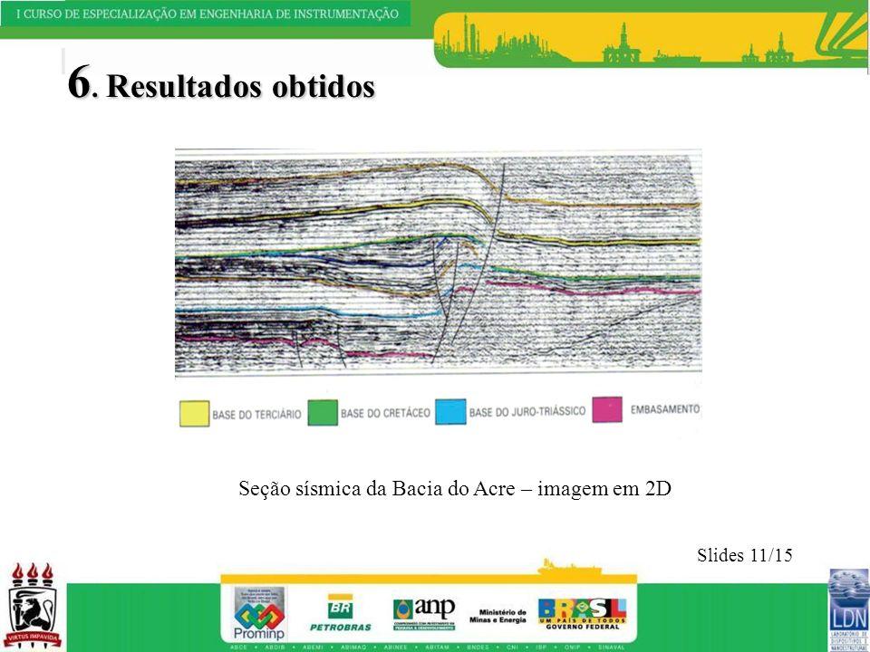 6. Resultados obtidos Seção sísmica da Bacia do Acre – imagem em 2D
