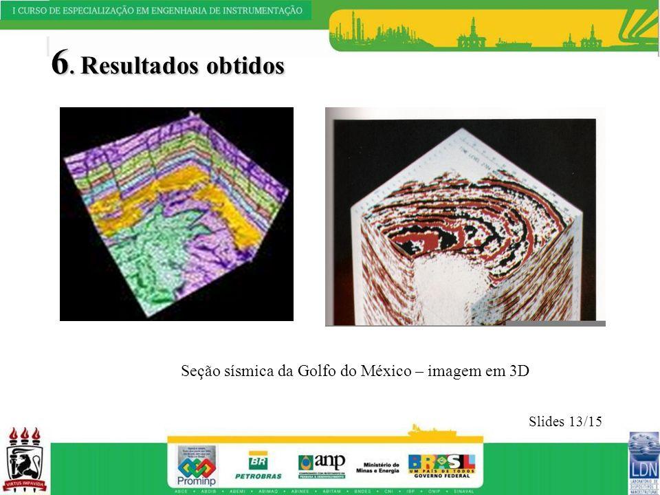 6. Resultados obtidos Seção sísmica da Golfo do México – imagem em 3D