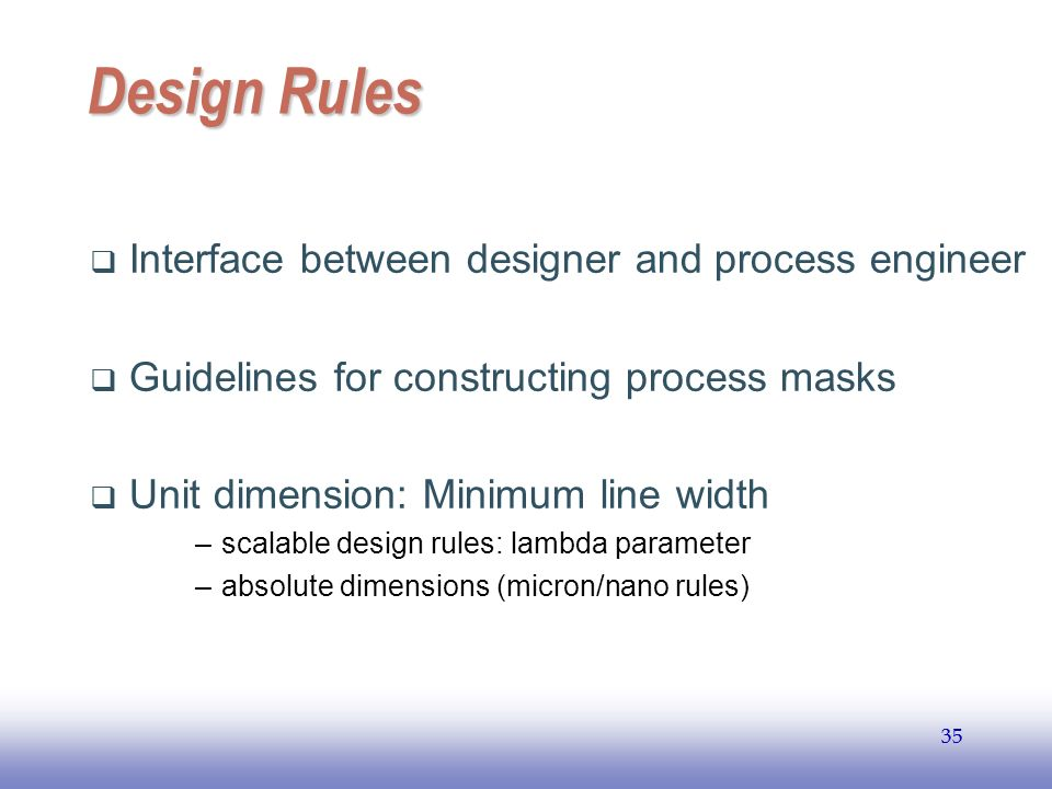 Design Rules Interface between designer and process engineer