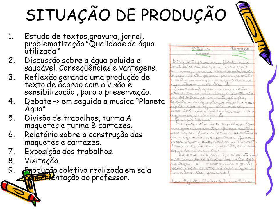 SITUAÇÃO DE PRODUÇÃO Estudo de textos,gravura, jornal, problematização Qualidade da água utilizada