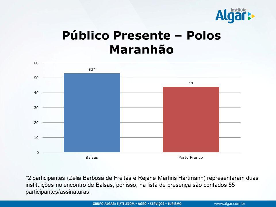 *2 participantes (Zélia Barbosa de Freitas e Rejane Martins Hartmann) representaram duas instituições no encontro de Balsas, por isso, na lista de presença são contados 55 participantes/assinaturas.