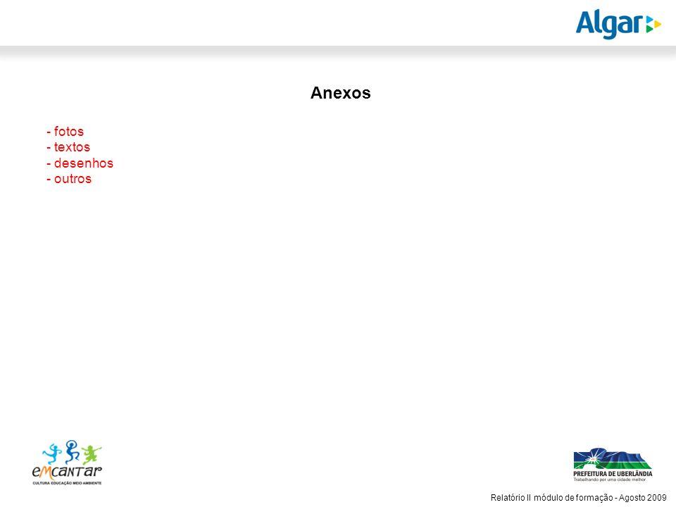 Anexos - fotos - textos - desenhos - outros