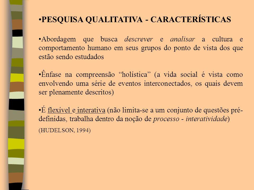 PESQUISA QUALITATIVA - CARACTERÍSTICAS