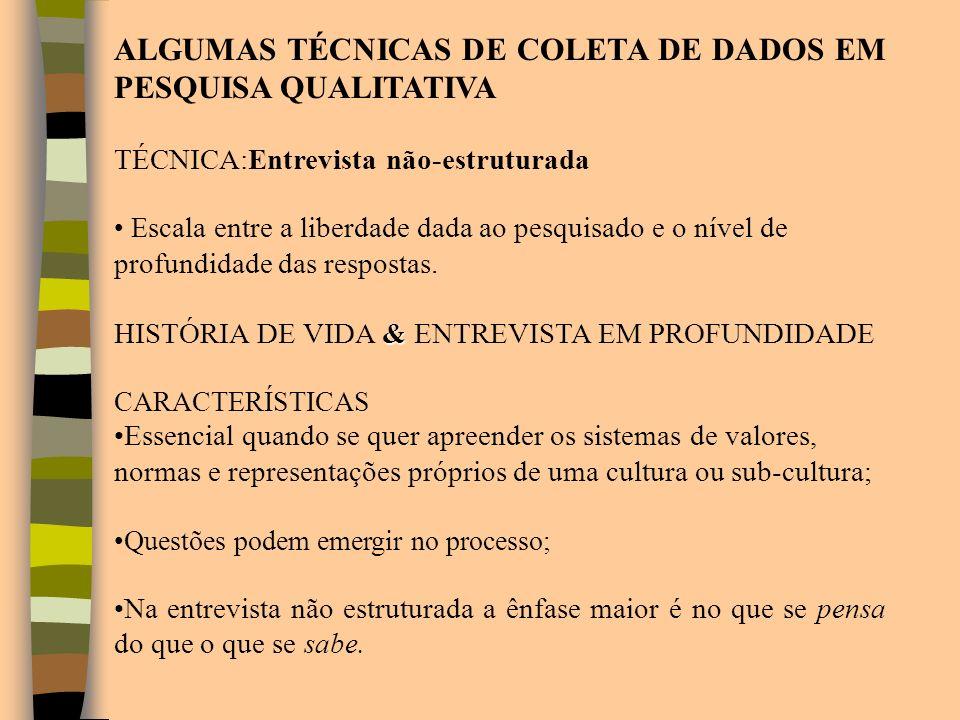 ALGUMAS TÉCNICAS DE COLETA DE DADOS EM PESQUISA QUALITATIVA
