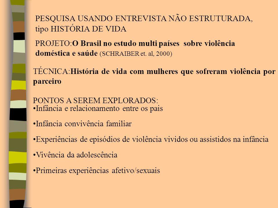 PESQUISA USANDO ENTREVISTA NÃO ESTRUTURADA, tipo HISTÓRIA DE VIDA