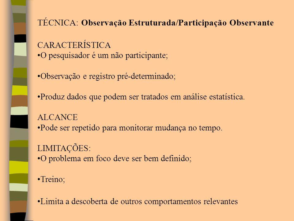 TÉCNICA: Observação Estruturada/Participação Observante