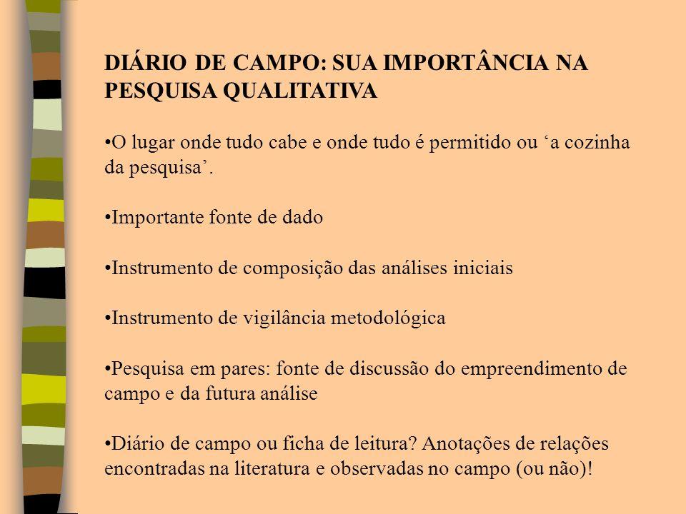 DIÁRIO DE CAMPO: SUA IMPORTÂNCIA NA PESQUISA QUALITATIVA