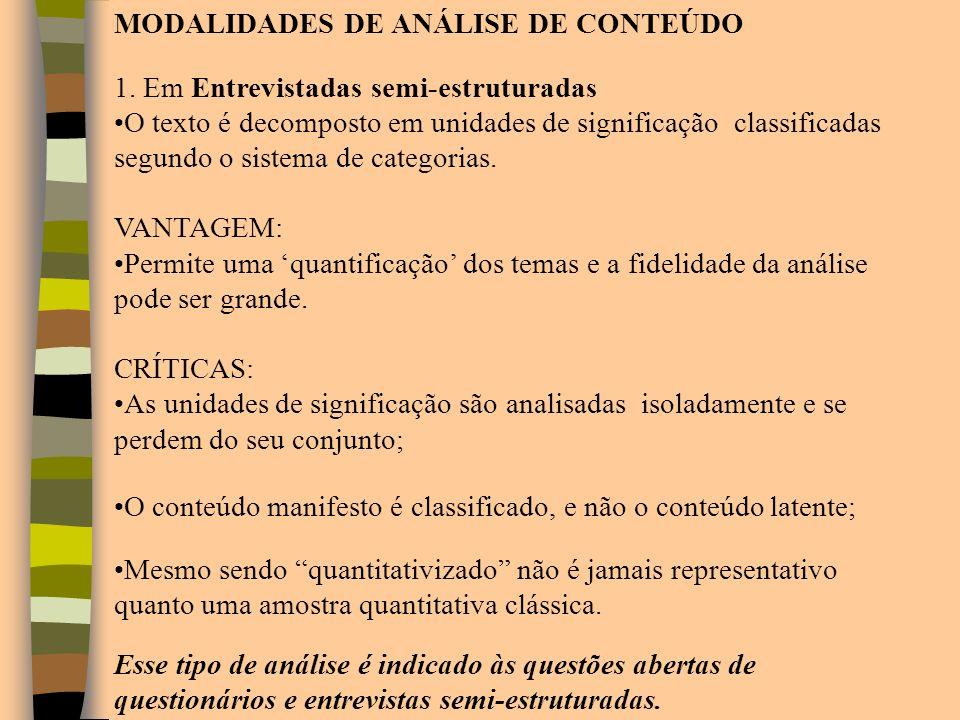 MODALIDADES DE ANÁLISE DE CONTEÚDO