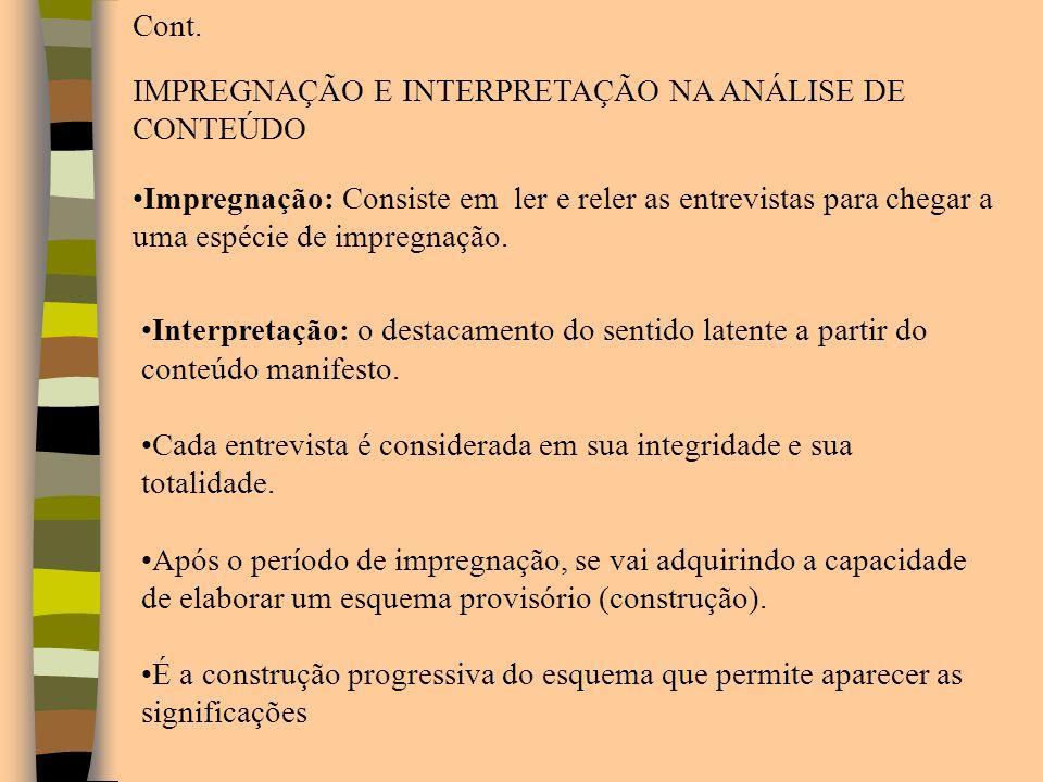 Cont. IMPREGNAÇÃO E INTERPRETAÇÃO NA ANÁLISE DE CONTEÚDO.