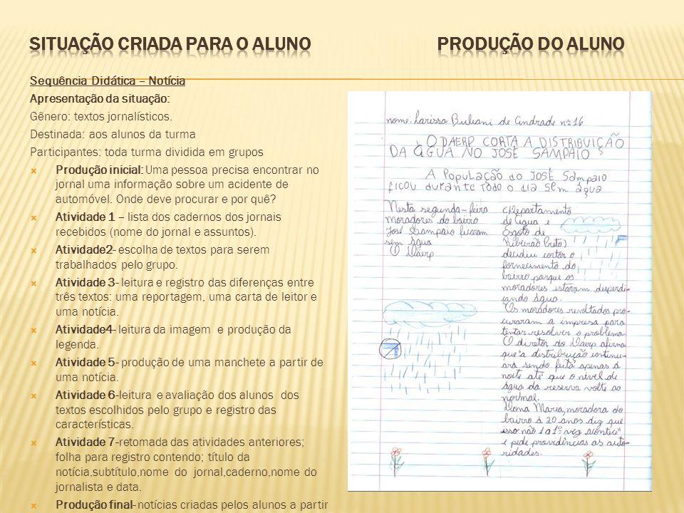 Situação criada para o aluno produção do ALUNO