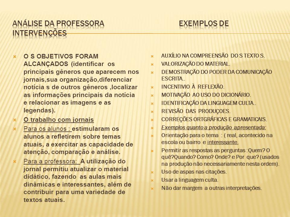 Análise da professora exemplos de intervenções