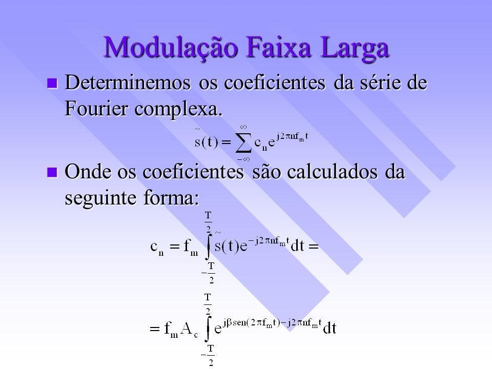 Modulação Faixa Larga Determinemos os coeficientes da série de Fourier complexa.