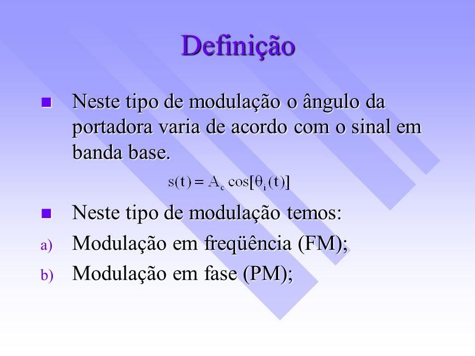 Definição Neste tipo de modulação o ângulo da portadora varia de acordo com o sinal em banda base. Neste tipo de modulação temos:
