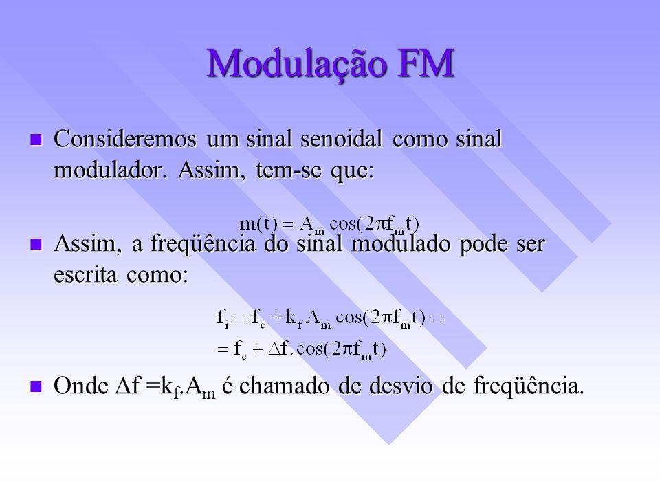 Modulação FM Consideremos um sinal senoidal como sinal modulador. Assim, tem-se que: Assim, a freqüência do sinal modulado pode ser escrita como: