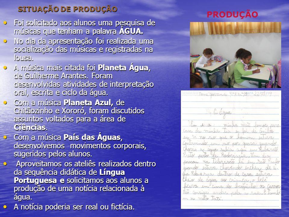SITUAÇÃO DE PRODUÇÃO PRODUÇÃO. Foi solicitado aos alunos uma pesquisa de músicas que tenham a palavra ÁGUA.