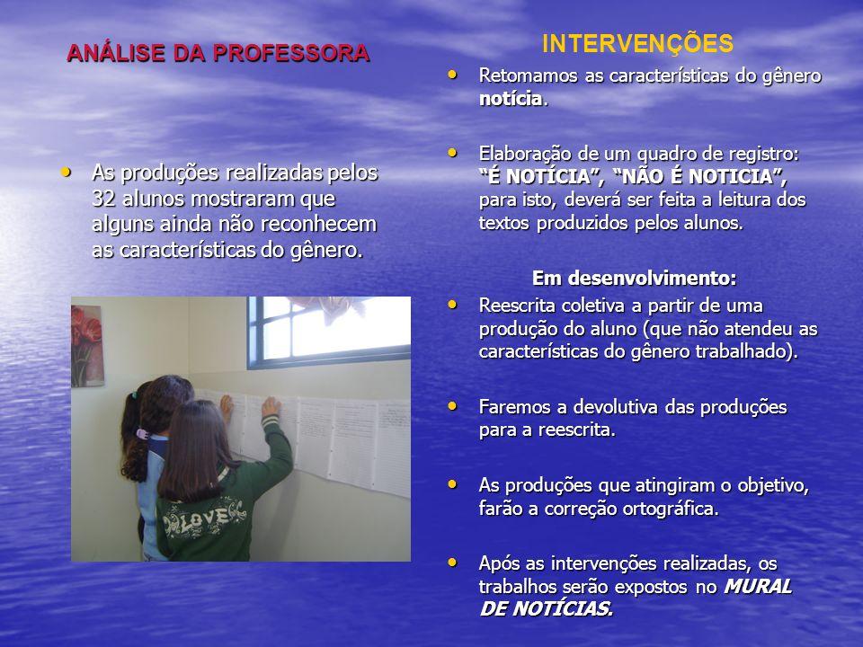 INTERVENÇÕES ANÁLISE DA PROFESSORA